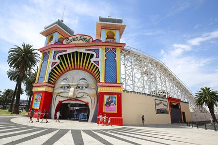 MELBOURNE, AUSTRALIA - JANUARY 25, 2019: Main Gate of Luna Park. Melbourne's Luna Park is an historic amusement park located on the foreshore of Port Phillip Bay in St Kilda.  It opened in 1912 Editoriali