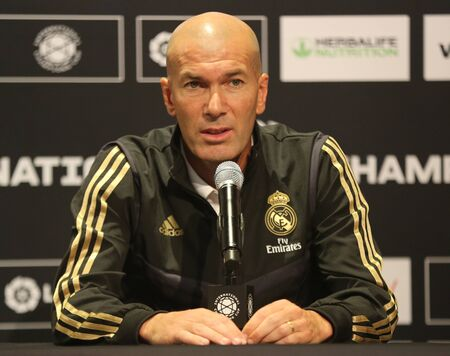 EAST RUTHERFORD, NJ - JULY 25, 2019: Zinedine Zidane manager of Real Madrid during pre match press conference before 2019 International Champions Cup game vs Atletico de Madrid  at MetLife stadium