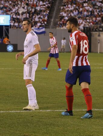 EAST RUTHERFORD, NJ - JULY 26, 2019: Gareth Bale of Real Madrid #11 in action during match against Atletico de Madrid in the 2019 International Champions Cup at MetLife stadium. Real Madrid lost 3-7 Redactioneel