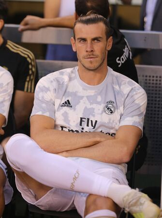EAST RUTHERFORD, NJ - JULY 26, 2019: Gareth Bale of Real Madrid #11 before match against Atletico de Madrid in the 2019 International Champions Cup at MetLife stadium. Real Madrid lost 3-7