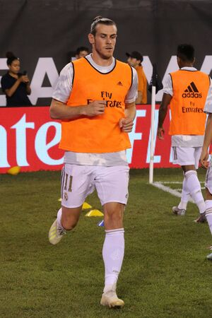 EAST RUTHERFORD, NJ - JULY 26, 2019: Gareth Bale of Real Madrid #11 during warm up before match against Atletico de Madrid in the 2019 International Champions Cup at MetLife stadium. Real Madrid lost 3-7