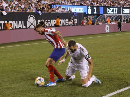 EAST RUTHERFORD, NJ - JULY 26, 2019: Karim Benzema of Real Madrid #9 in action during match against Atletico de Madrid in the 2019 International Champions Cup at MetLife stadium. Real Madrid lost 3-7