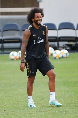 EAST RUTHERFORD, NJ - JULY 25, 2019: Marcelo Vieira of Real Madrid during training session before match against Atletico de Madrid in the 2019 International Champions Cup at MetLife stadium. Redactioneel