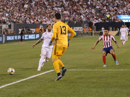 EAST RUTHERFORD, NJ - JULY 26, 2019: Thibaut Courtois of Real Madrid #13 in action during match against Atletico de Madrid in the 2019 International Champions Cup at MetLife stadium. Real Madrid lost 3-7