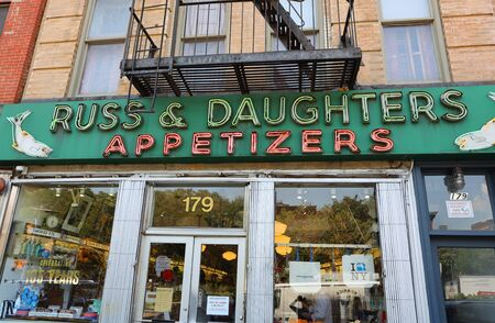NEW YORK - JULY 30, 2019: Famous Russ & Daughters appetizers store opened in 1914 in Lower East Side in Manhattan