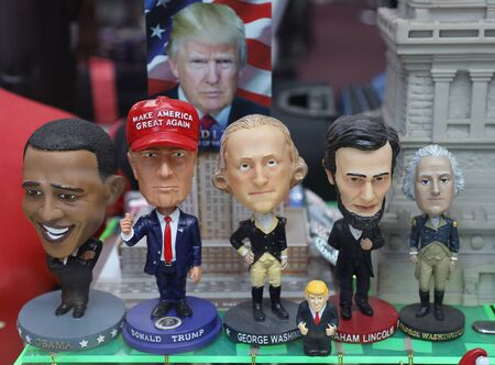 NEW YORK - JULY 30, 2019: Political souvenirs on display in Manhattan gift shop