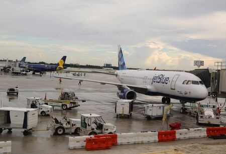 FORT LAUDERDALE, FLORIDA - AUGUST 5, 2019: JetBlue plane on tarmac at Fort Lauderdale - Hollywood International Airport