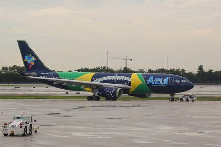 FORT LAUDERDALE, FLORIDA - AUGUST 5, 2019: Azul Brazilian Airlines plane on tarmac at Fort Lauderdale - Hollywood International Airport in Florida