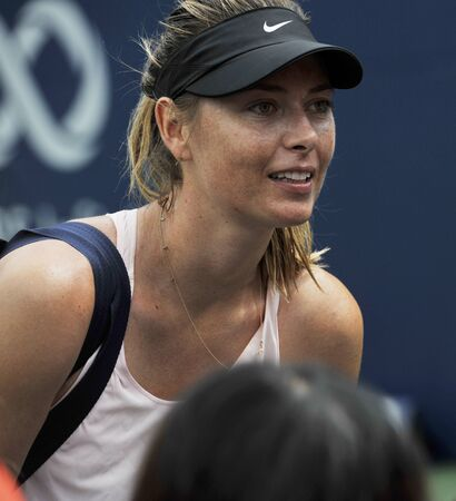 TORONTO, CANADA - AUGUST 3, 2019: Five times Grand Slam Champion Maria Sharapova of Russian Federation practices for 2019 Rogers Cup in Toronto