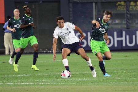 NEW YORK - JULY 24, 2019: Right-back Trent Alexander-Arnold of Liverpool FC (66) in action against Sporting CP in the 2019 Western Union Cup game at Yankees stadium in New York