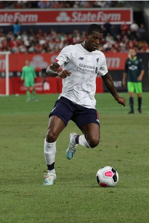 NEW YORK - JULY 24, 2019: Midfielder Georginio Wijnaldum of Liverpool FC (5) in action against Sporting CP in the 2019 Western Union Cup game at Yankees stadium in New York