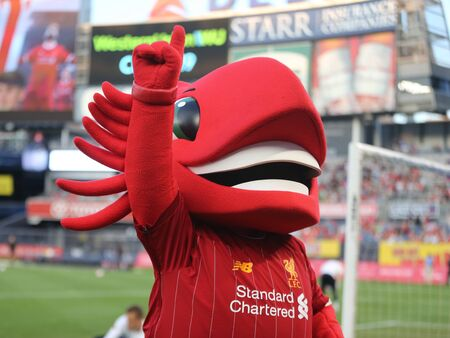 NEW YORK - JULY 24, 2019: Liverpool mascot Mighty Red at Yankee stadium before the 2019 Western Union Cup game between Liverpool FC and Sporting CP in New York 新聞圖片