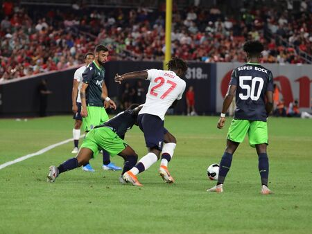 NEW YORK - JULY 24, 2019: Forward Divock Ogiri of Liverpool FC (27) in action against Sporting CP in the 2019 Western Union Cup game at Yankees stadium in New York