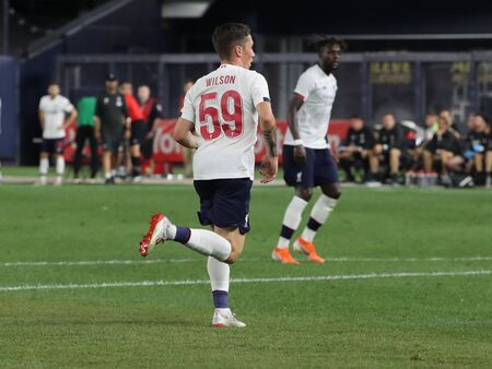 NEW YORK - JULY 24, 2019: Winger Harry Wilson of Liverpool FC (59) in action against Sporting CP in the 2019 Western Union Cup game at Yankees stadium in New York