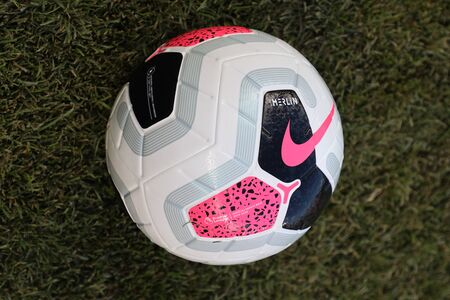 NEW YORK - JULY 24, 2019: Nike match ball at Yankees stadium before the 2019 Western Union Cup game between Liverpool FC and Sporting CP in New York