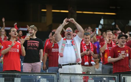 NEW YORK - JULY 24, 2019: Liverpool soccer fans support Liverpool FC against Sporting CP during the 2019 Western Union Cup game at Yankees stadium in New York