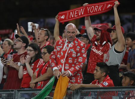 NEW YORK - JULY 24, 2019: Mr. Kieran Hardy in Liverpool Suit supports Liverpool FC against Sporting CP during the 2019 Western Union Cup game at Yankees stadium in New York
