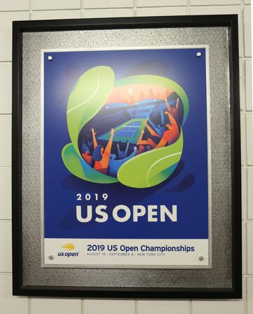 NEW YORK - AUGUST 19, 2019: 2019 US Open poster on display at the Billie Jean King National Tennis Center in New York Stok Fotoğraf - 130137520