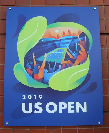 NEW YORK - AUGUST 19, 2019: 2019 US Open poster on display at the Billie Jean King National Tennis Center in New York Stok Fotoğraf - 130137522