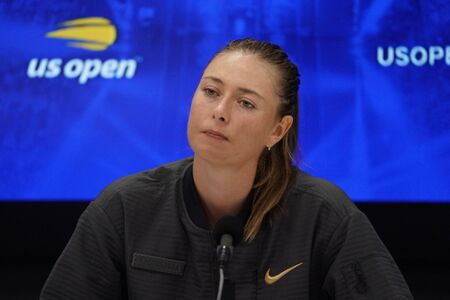 NEW YORK - AUGUST 26, 2019: Five times Grand Slam Champion Maria Sharapova of Russia during press conference after her loss to Serena Williams in 2019 US Open first round match in New York
