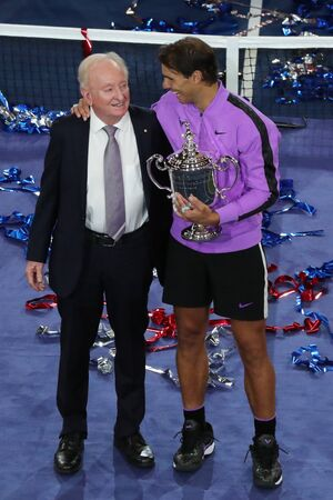 NEW YORK - SEPTEMBER 8, 2019: 2019 US Open champion Rafael Nadal of Spain (R) and Rod Laver during trophy presentation after his victory over Daniil Medvedev at Billie Jean King National Tennis Center