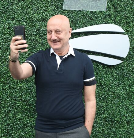 NEW YORK - SEPTEMBER 5, 2019: Indian actor and the former Chairman of Film and Television Institute of India Anupam Kher at the red carpet before 2019 US Open night match at National Tennis Center in New York Sajtókép