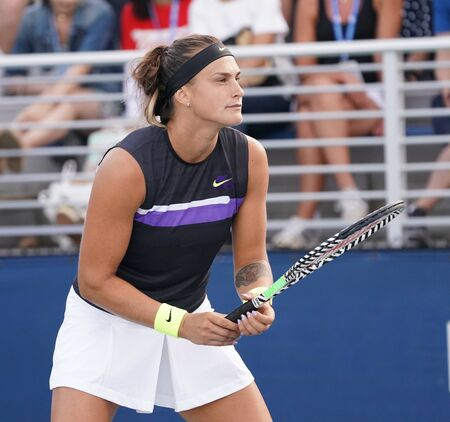 NEW YORK - AUGUST 31, 2019: Professional tennis player Aryna Sabalenka of Belarus in action during her 2019 US Open second round doubles match at Billie Jean King National Tennis Center Editöryel