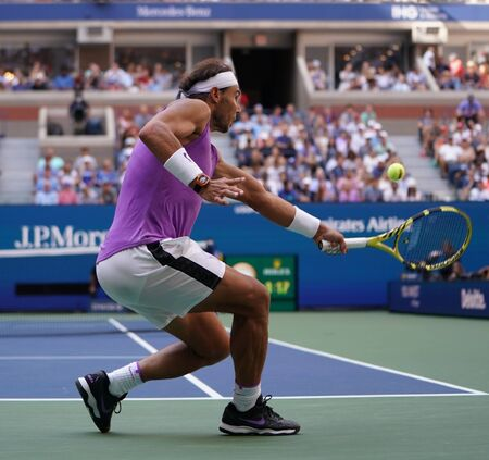NEW YORK - AUGUST 31, 2019: 18-time Grand Slam champion Rafael Nadal of Spain in action during his 2019 US Open third round match at Billie Jean King National Tennis Center in New York