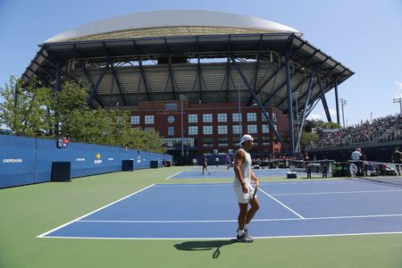 NEW YORK - AUGUST 25, 2019: Arthur Ashe Stadium and practice courts during 2019 US Open at Billie Jean King National Tennis Center in New York