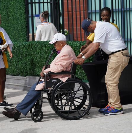NEW YORK - AUGUST 27, 2019: Former New York City mayor David Dinkins attends match during 2019 US Open at Billie Jean King National Tennis Center in New York Editorial
