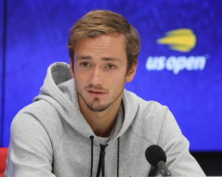 NEW YORK - SEPTEMBER 3, 2019: Professional tennis player Daniil Medvedev of Russia during press conference after his 2019 US Open quarter-final match at Billie Jean King National Tennis Center Editorial