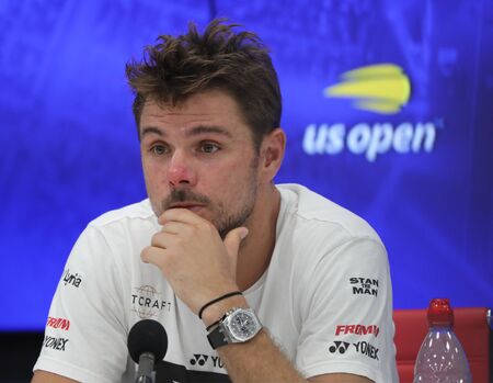 NEW YORK - SEPTEMBER 3, 2019: Grand Slam Champion Stanislas Wawrinka of Switzerland during press conference after his 2019 US Open quarter-final match at Billie Jean King National Tennis Center Editorial