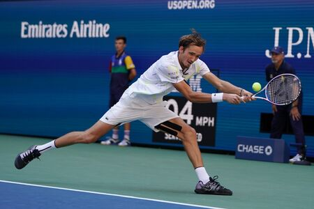NEW YORK - SEPTEMBER 3, 2019: Professional tennis player Daniil Medvedev of Russia in action during his 2019 US Open quarter-final match at Billie Jean King National Tennis Center in New York