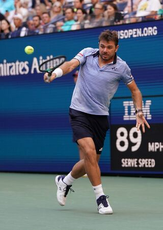 NEW YORK - SEPTEMBER 3, 2019: Grand Slam Champion Stanislas Wawrinka of Switzerland in action during his 2019 US Open quarter-final match at Billie Jean King National Tennis Center in New York Editorial
