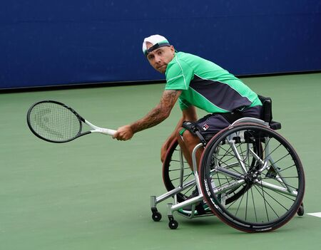 NEW YORK - SEPTEMBER 8, 2018: Wheelchair tennis player Andy Lapthorne of Great Britain in action during his Wheelchair Quad Singles semifinal match at 2018 US Open at Billie Jean King National Tennis Center