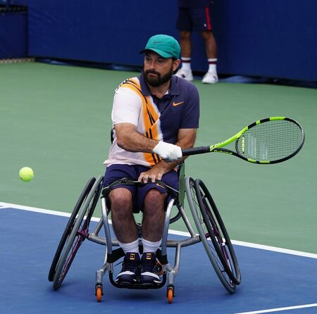 NEW YORK - SEPTEMBER 8, 2018: Wheelchair tennis player David Wagner of USA in action during his Wheelchair Quad Singles semifinal match at 2018 US Open at Billie Jean King National Tennis Center