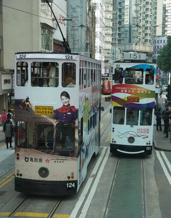 HONG KONG - NOVEMBER 8, 2019: Iconic double decker tram in Hong Kong.  Hong Kong tram is the only in the world run with double deckers and one of the main tourist attractions