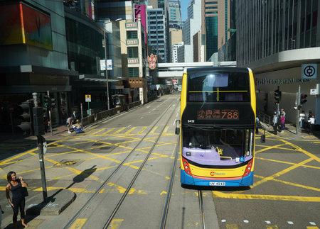 HONG KONG - NOVEMBER 8, 2019: Double decker bus in Hong Kong Central
