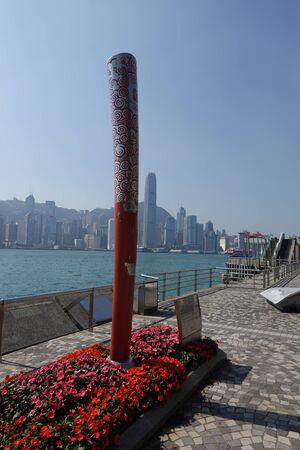 HONG KONG - NOVEMBER 10, 2019: Commemorative sculpture of the Beijing 2008 Olympic torch at the Tsim Sha Tsui Promenade in Hong Kong