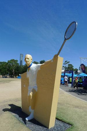 MELBOURNE, AUSTRALIA - JANUARY 29, 2009: Rod Laver statue at Australian tennis center in Melbourne, Australia. It is the main venue for the Australian Open tennis championship since 1988 Editorial