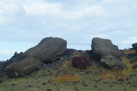 Fallen moui at the Easter Island, Chile. Easter Island has at least 313 ceremonial platforms or open-air temple sanctuaries erected in honor of the gods and deified ancestors