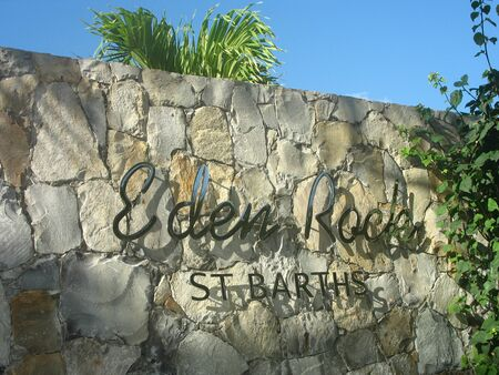 ST BARTS, FRENCH WEST INDIES - JANUARY 24, 2008: Eden Rock hotel sign at St Barts, French West Indies. Eden Rock St Barts is one of the Top 100 hotels in the world. Stock fotó - 134817648