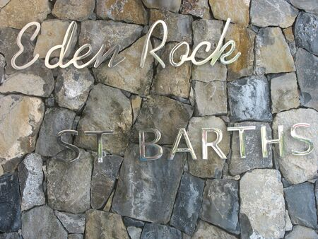 ST BARTS, FRENCH WEST INDIES - JANUARY 24, 2008: Eden Rock hotel sign at St Barts, French West Indies. Eden Rock St Barts is one of the Top 100 hotels in the world. Sajtókép