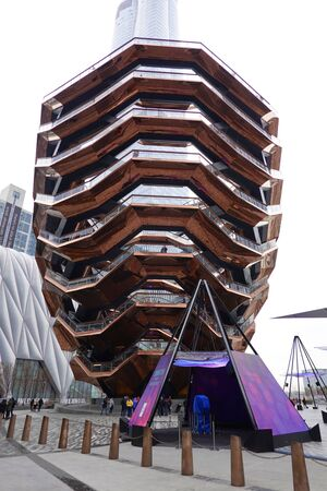 NEW YORK - DECEMBER 1, 2019: The Vessel, the centerpiece of the Public Square and Gardens at Hudson Yards. Sajtókép