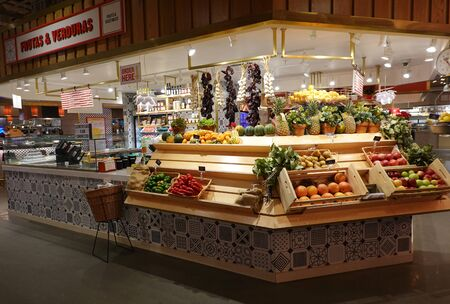 NEW YORK - DECEMBER 1, 2019: Mercado Little Spain food market in New York. It is located at Hudson Yards Mall and owned by the famous Spanish chefs Jose Andres and Ferran Adria