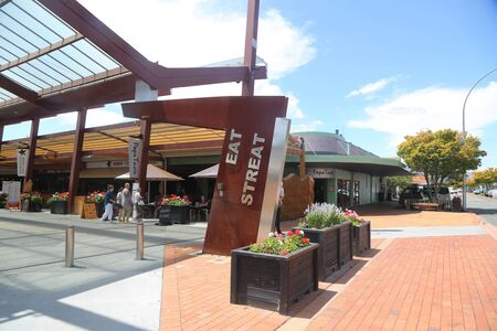 ROTORUA, NEW ZEALAND - FEBRUARY 2, 2019: Popular Eat Street in Rotorua, New Zealand. Eat Street is one of Rotoruas coolest hot spots in the city.