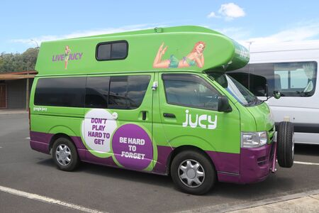 ROTORUA, NEW ZEALAND - FEBRUARY 2, 2019: Jucy rental mini RV in Rotorua, New Zealand