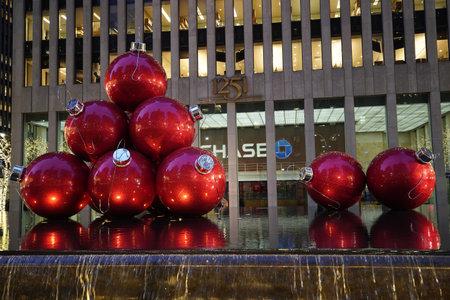 NEW YORK - DECEMBER 5, 2019: Christmas decorations near New York City landmark Radio City Music Hall in Rockefeller Center