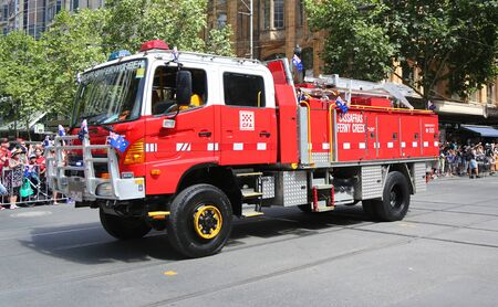 MELBOURNE, AUSTRALIA - JANUARY 26, 2019: Country Fire Authority truck during 2019 Australia Day Parade in Melbourne Sajtókép