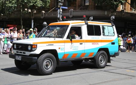 MELBOURNE, AUSTRALIA - JANUARY 26, 2019: Colbrow Medics Event First Aid Medical Services car during 2019 Australia Day Parade in Melbourne